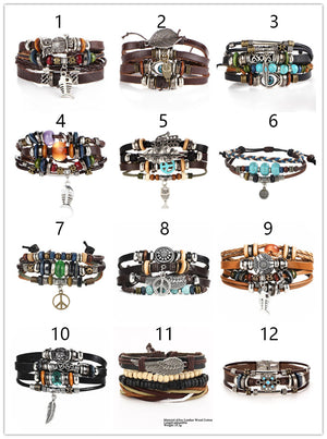 🔥🔥2019 Stone Feather Multilayer Leather Bracelet Eye Fish Charms Beads Bracelets for Men Vintage Punk Wrap Wristband