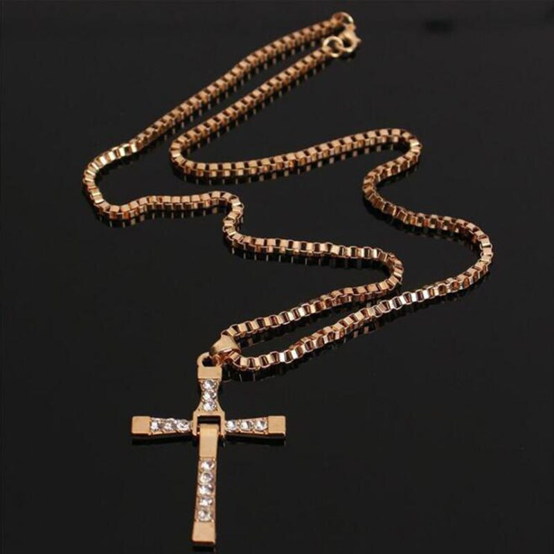 🔥🔥2019 The Fast And The Furious Dominic Toretto Vin New Jewelry Classic Rhinestone Pendant Sliver Cross Necklaces