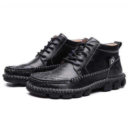 Men Hand Stitching Non Slip Wear Resistant Casual Leather Boots