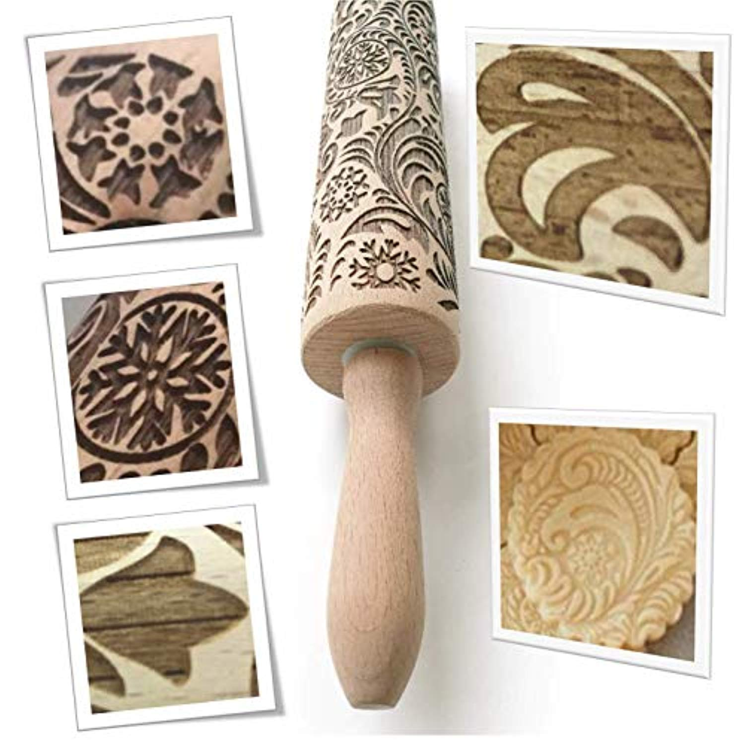 "Paisley Embossed Rolling Pin 16"" Engraved Rolling Pin for Baking"