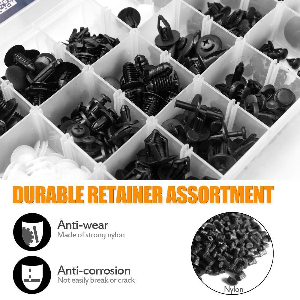 Auto Push Clips & Fasteners Set (415 Pcs)