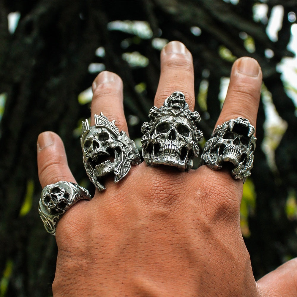 🔥🔥2019 Cool Rings Vintage Indian Jaguar Warrior Skull Punk