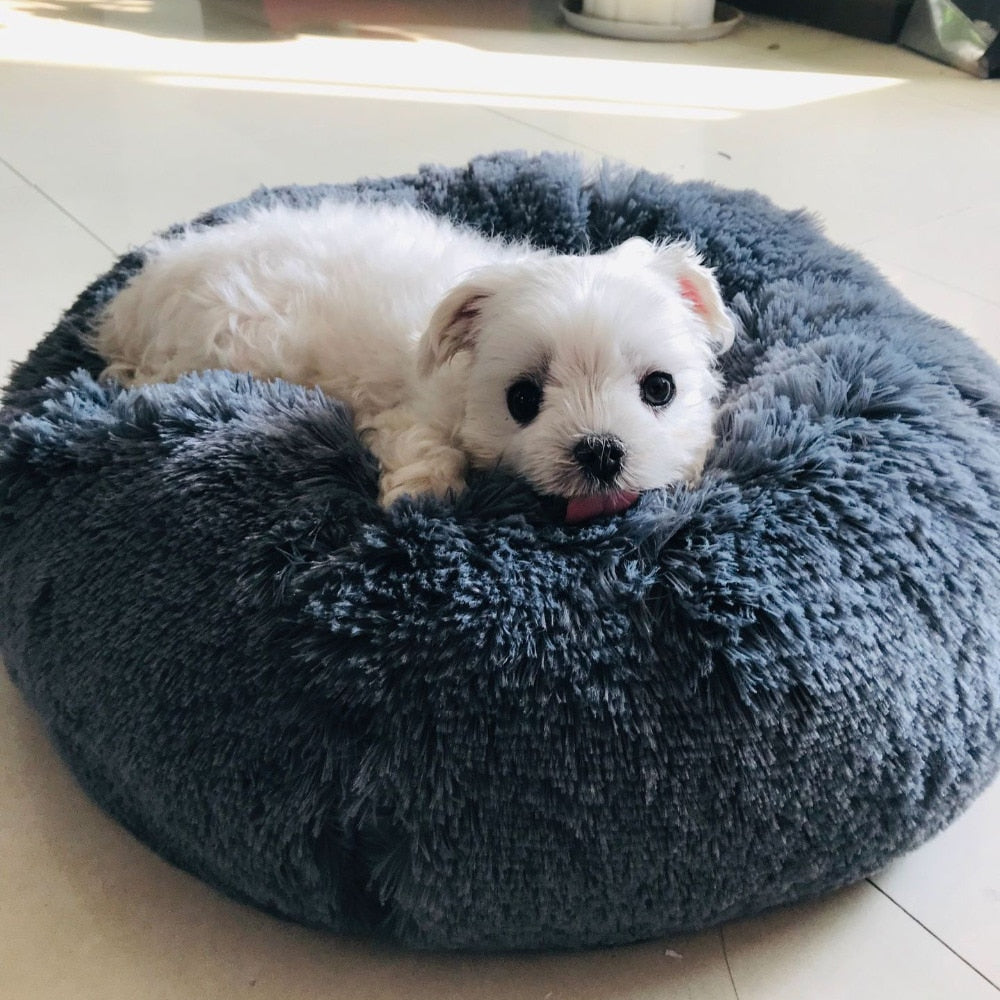 Long Plush Super Soft Pet Bed Kennel Dog Round Cat Sleeping Bag Puppy Cushion Mat Portable Cat Supplies 40/50/60cm