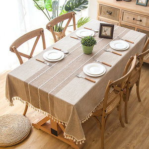 Plaid Decorative Linen Tablecloth With Tassel Waterproof Oilproof Thick Rectangular Wedding Dining Table Cover Tea Table Cloth