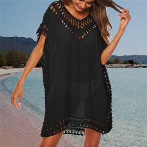 Loose Beach Dress Tunic Solid Bikini Cover Swimsuit Beachwear Swimwear Hollow Out Beach Dress