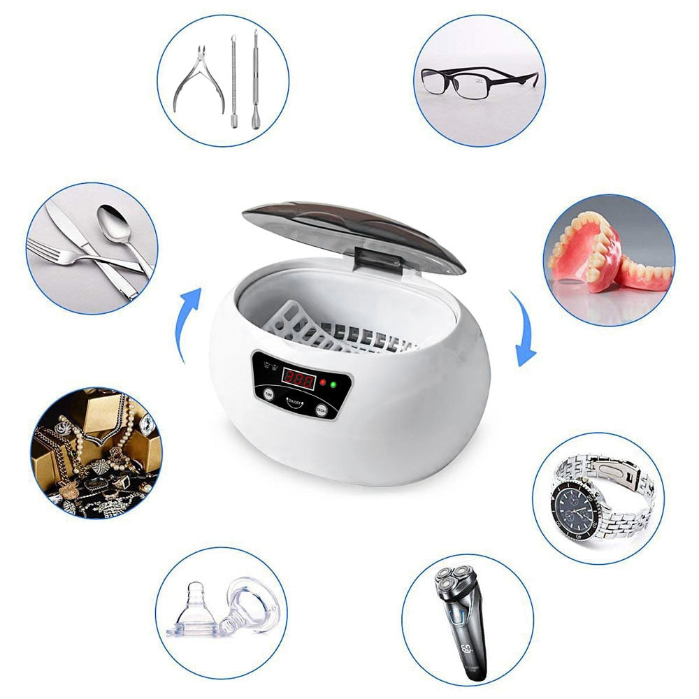 600ml Ultrasonic Cleaner Bath Timer for Jewelry Parts Glasses Manicure Stones Cutters Dental Razor Brush Ultrasound