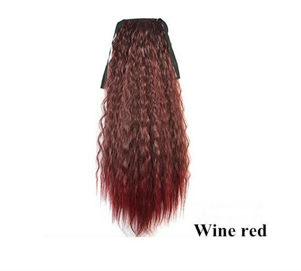 Long Kinky Curly Wavy Wig Drawstring Ponytail Synthetic Wigs