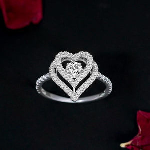 😘Twinkling Sterling Silver Dancing Heart Ring - The Last Day Buy 1 Get 1 Free😘