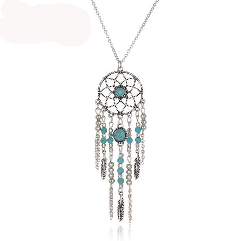 Dreamcatcher Boho Beaded Feather Long Necklace