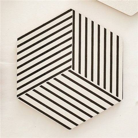 Sleek Black & White Wooden Coasters / Place Mats