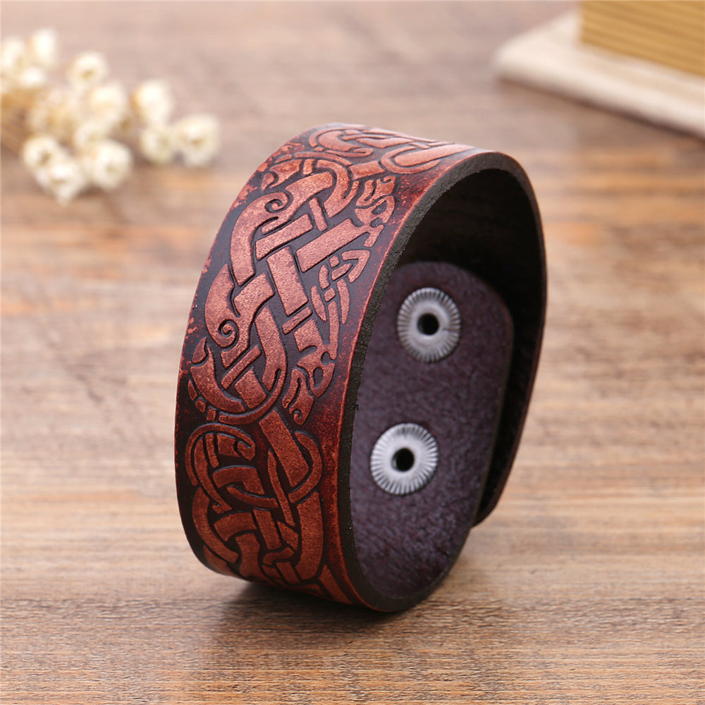 cosmic-knot-leather-cuff-dragon-bracelet