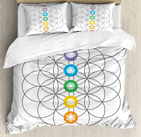 Vintage Chakra Points in Concentric Rings 4 Piece Bedding Set