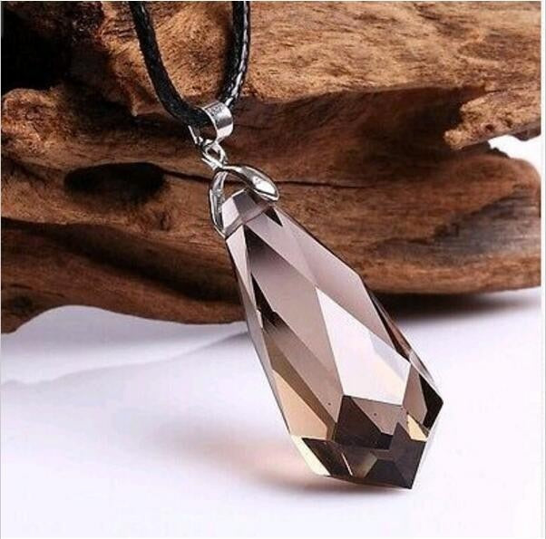 Natural Smoky Quartz Pendant Pendulum Crystal Healing Necklace