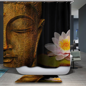 Buddha and Lotus Flower Bathroom Curtain