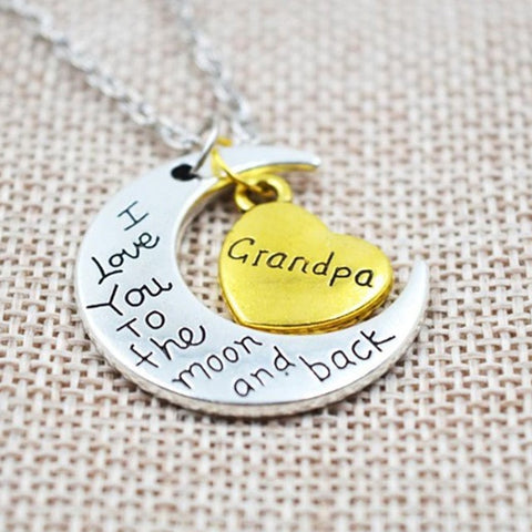"""I Love You To The Moon And Back"" Two Tone Family Necklace"