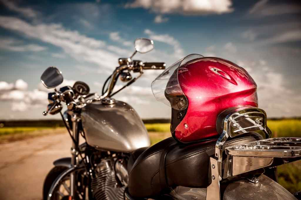 motorcycle with helmet rested on top