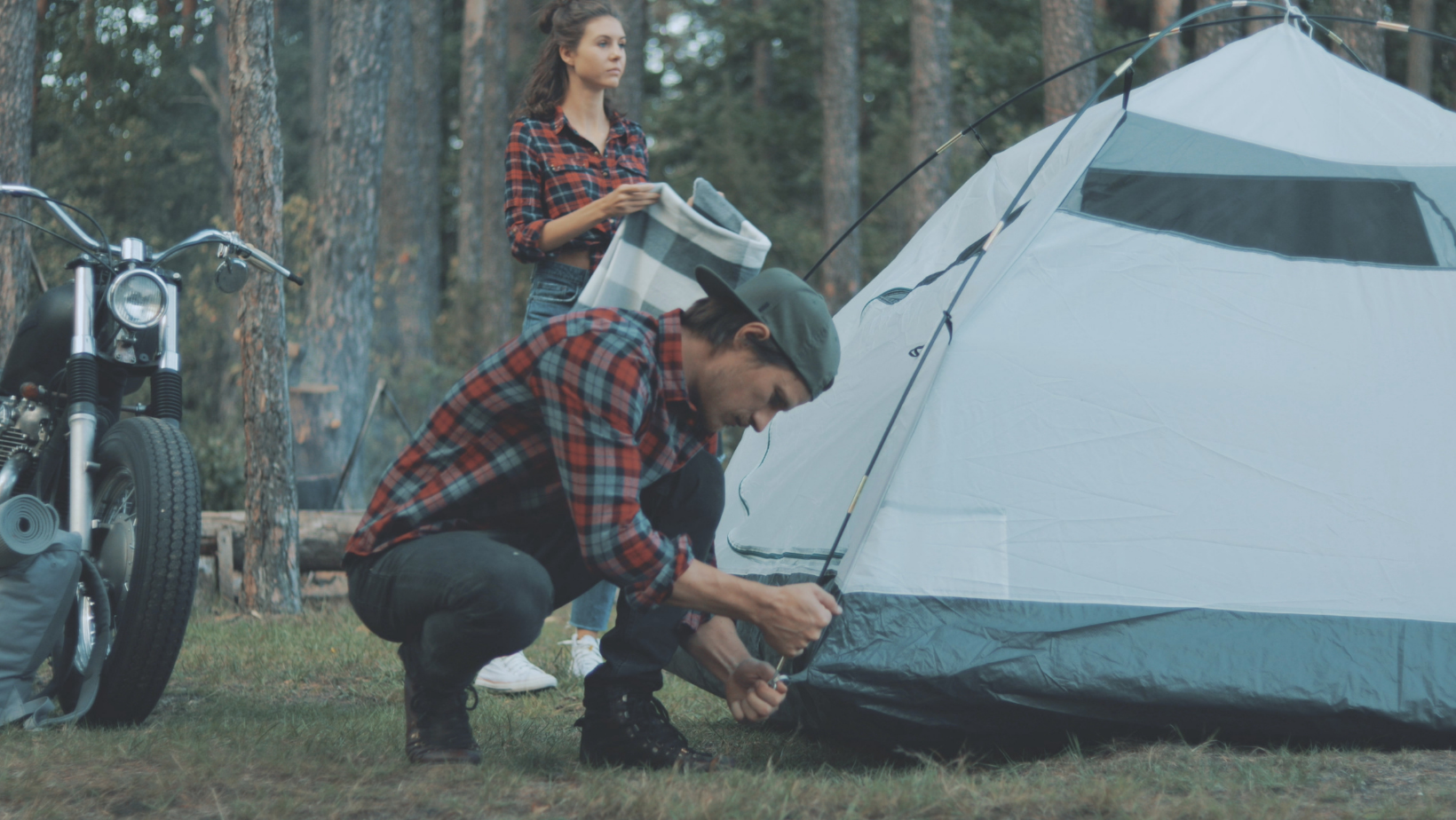 Setting up tent during camping