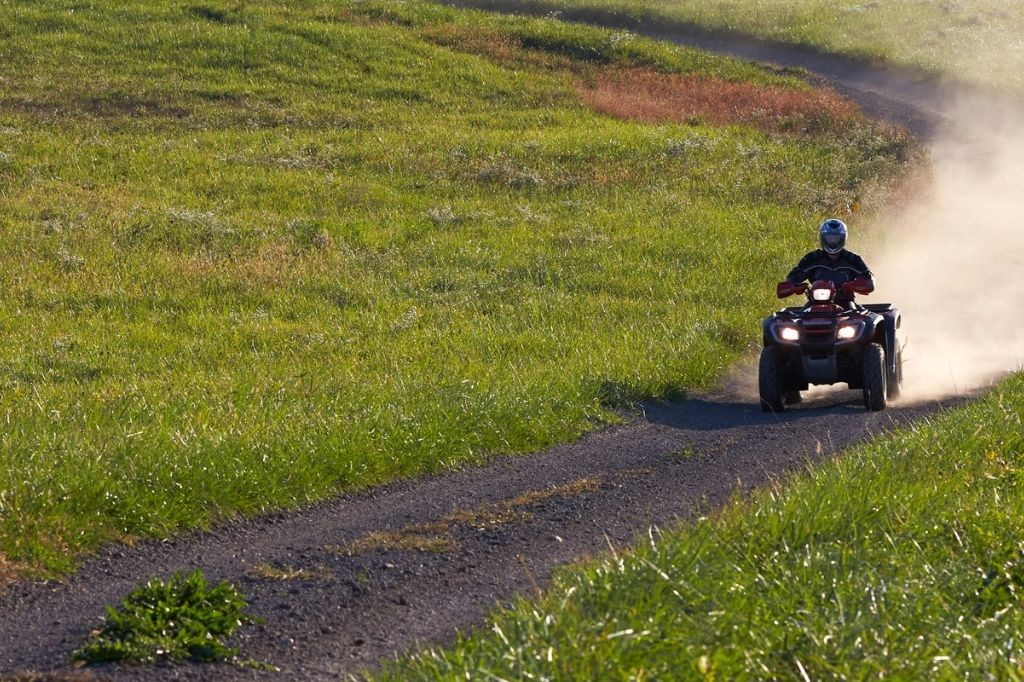 atv surrounded by green grass on a small road