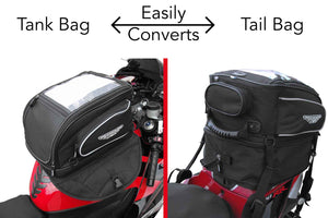 motorcycle tank bag that easily converts to tail bag
