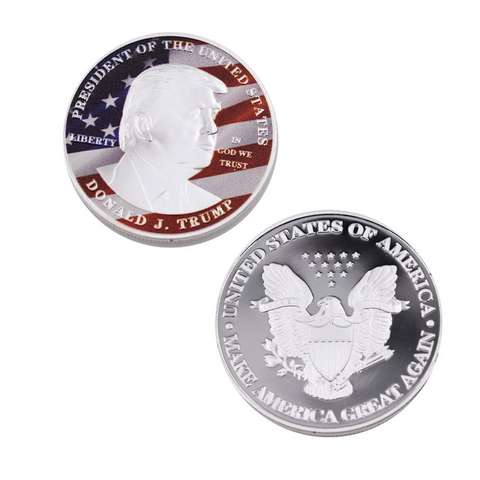 Official 45th President Trump Silver Plated Commemorative Coin