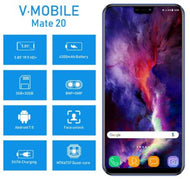 R$ 664,99 - Smartphone TEENO V Mobile Mate 20 - Android 7.0 3GB+32GB 5.84