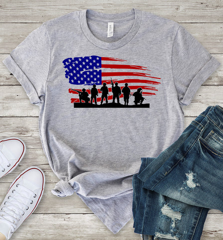 American Flag Soldiers T-Shirt
