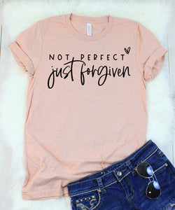 Not Perfect Just Forgiven Heather Peach T-Shirt