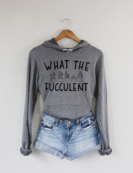 What the Fucculent Dark Grey Fleece Hoodie