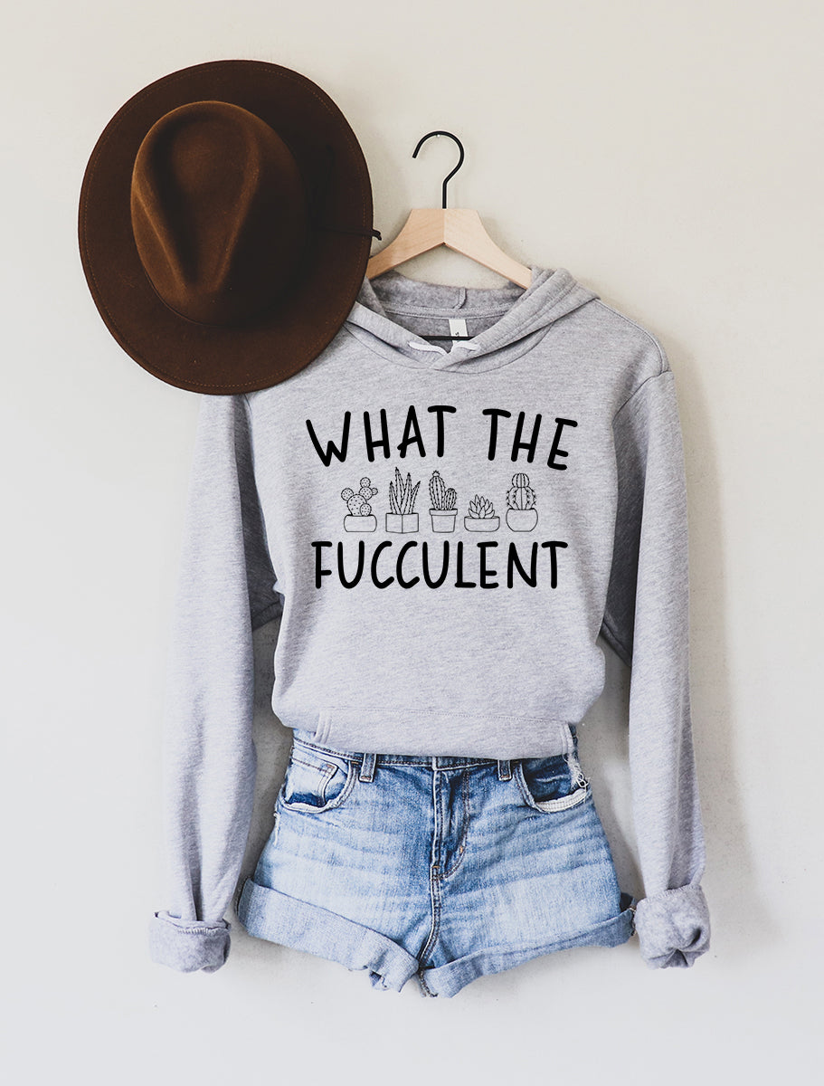 What the Fucculent Light Grey Fleece Hoodie