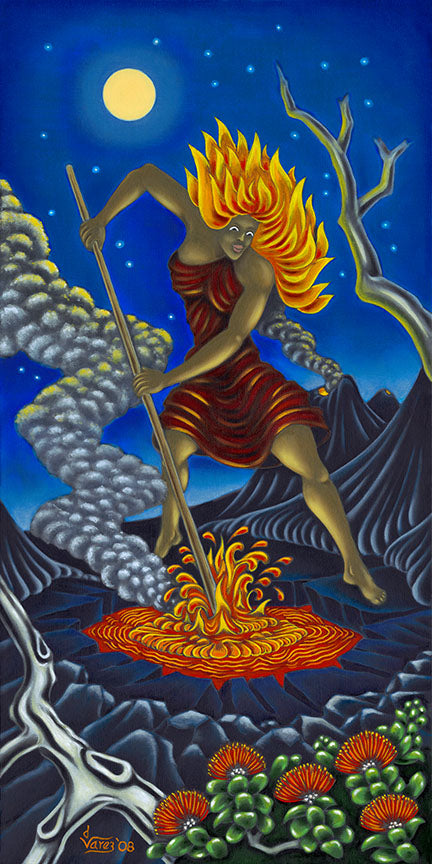 108 Pele Stirring the Fire by Hawaii Artist Dietrich Varez