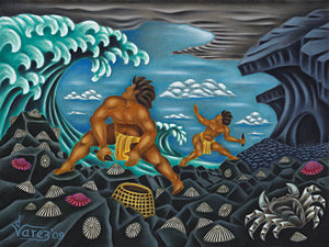 110 The 'Opihi Pickers by Hawaii Artist Dietrich Varez