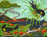 121 'O'o Birds at the Crater by Hawaii Artist Dietrich Varez