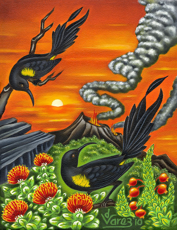 122 'O'o Birds at the Crater by Hawaii Artist Dietrich Varez
