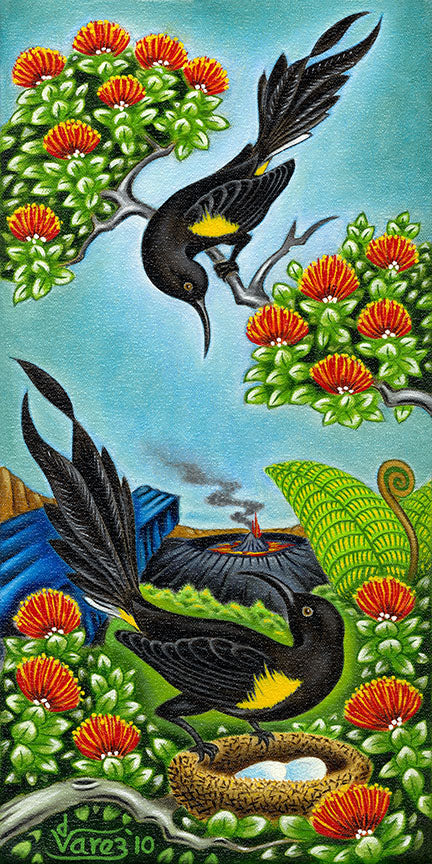 123 'O'o Birds at the Crater by Hawaii Artist Dietrich Varez