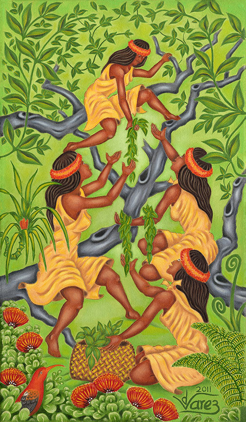 127 Four Maile Sisters by Hawaii Artist Dietrich Varez