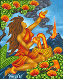132 Pele with Lei and Basket by Hawaii Artist Dietrich Varez