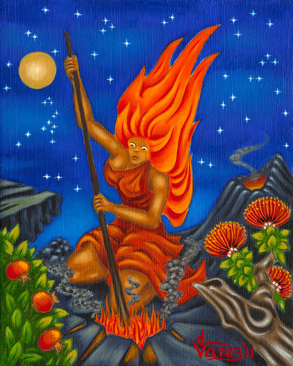 134 Pele Stirring the Fire by Hawaii Artist Dietrich Varez