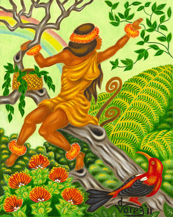 135 Picking Maile by Hawaii Artist Dietrich Varez