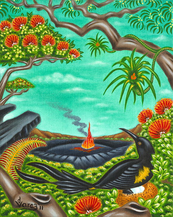 137 'O'o Bird at the Crater by Hawaii Artist Dietrich Varez
