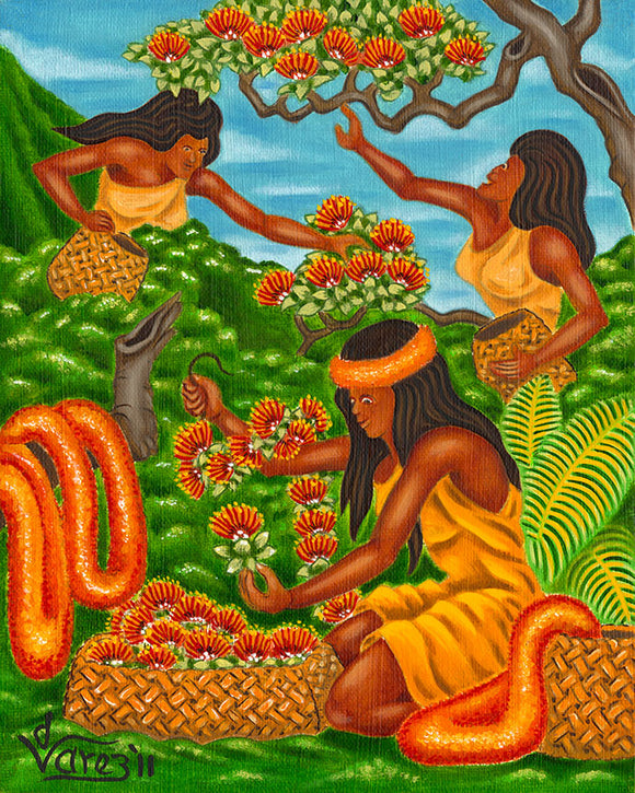 140 Making Lehua Blossom Lei's by Hawaii Artist Dietrich Varez