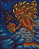 142 Pele with Pa'oa and Lehua Blossom Bouquet by Hawaii Artist Dietrich Varez