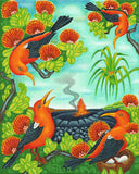 143 'I'iwi Birds at the Crater by Hawaii Artist Dietrich Varez