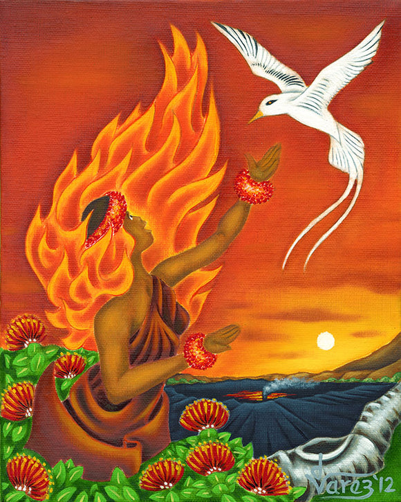 147 Pele with Tropicbird by Hawaii Artist Dietrich Varez