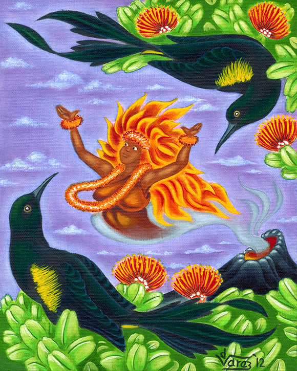 152 Pele and 'O'o Birds by Hawaii Artist Dietrich Varez