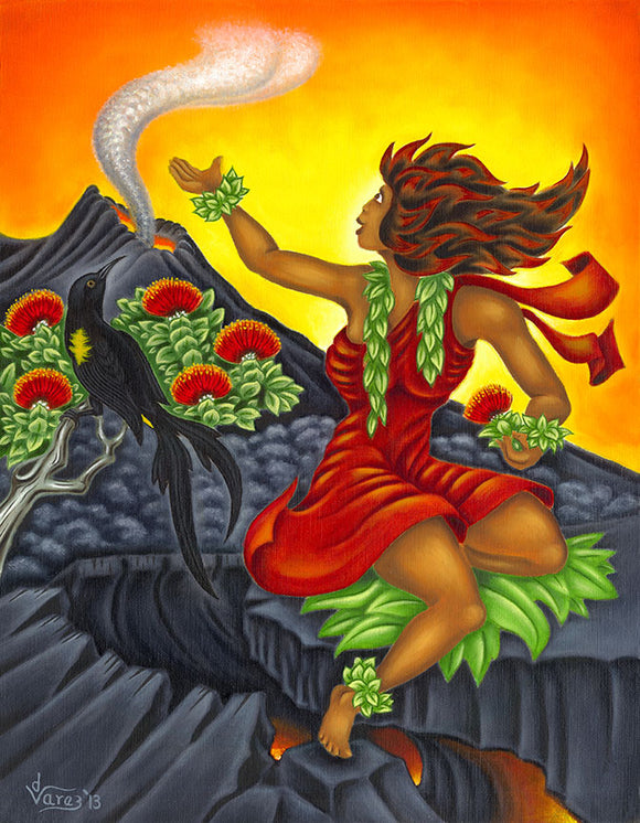 166 Pele and the 'O'o Bird by Hawaii Artist Dietrich Varez