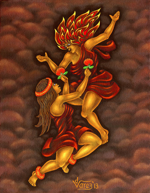 167 Hi'iaka offers Lehua Blossoms to Pele by Hawaii Artist Dietrich Varez