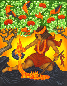 168 Pele Stirs the Fire by Hawaii Artist Dietrich Varez