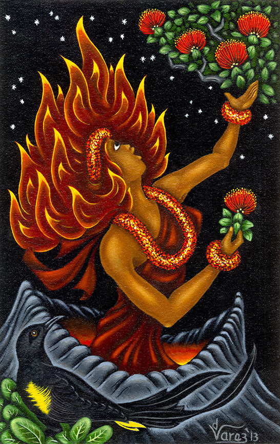 174 Pele and Lehua Blossoms by Hawaii Artist Dietrich Varez