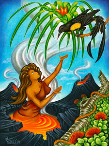 177 Pele and the O'o Bird by Hawaii Artist Dietrich Varez