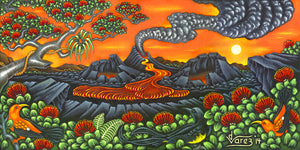 181 Sunset at the Volcano by Hawaii Artist Dietrich Varez